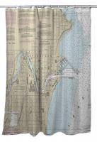 WI: Sheboygan, WI Nautical Chart Shower Curtain
