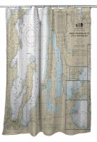 MI: Traverse City, Torch Lake, MI Nautical Chart Shower Curtain