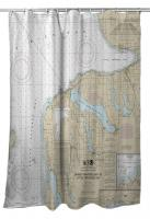 MI: Charlevoix, MI Nautical Chart Shower Curtain