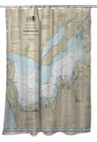 MI: Muskegon Lake, MI Nautical Chart Shower Curtain