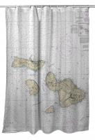 HI: Molokai, Lanai, Maui, Kahoolawe, HI Nautical Chart Shower Curtain