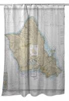HI: Oahu, HI Nautical Chart Shower Curtain