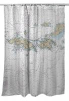 VI: St. Thomas, St. John, USVI Nautical Chart Shower Curtain