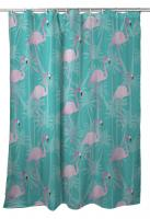 Pink Flamingos on Aqua Shower Curtain