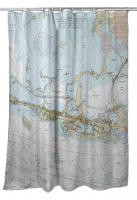 FL: Key Largo, FL (Close Up) Nautical Chart Shower Curtain