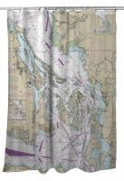 WA: San Juan Islands, Bellingham, Anacortes, WA Nautical Chart Shower Curtain