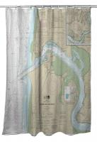 OR: Yaquina Bay and River, OR Nautical Chart Shower Curtain
