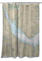 NC: Neuse River (WEST), Upper Bay River, NC Nautical Chart Shower Curtain