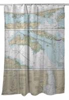 NC: Cape Henry to Pamlico Sound, NC Nautical Chart Shower Curtain
