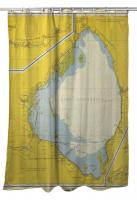FL: Lake Okeechobee, FL C. 1958 Vintage Nautical Chart Shower Curtain