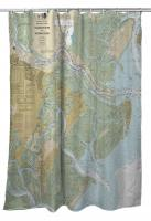 GA: Savannah River and Wassaw Sound, GA Nautical Chart Shower Curtain
