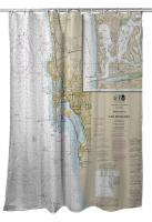 CA: Approaches to San Diego Bay, La Jolla, Coronada, CA Nautical Chart Shower Curtain