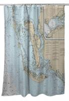 FL: Pine Island, Cayo Costa, Sanibel Island, FL Nautical Chart Shower Curtain