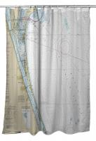 FL: Cocoa, Cape Canaveral, Melbourne, FL Nautical Chart Shower Curtain