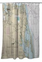 VA-NC: Cape Henry, VA to Currituck Beach Light, NC Nautical Chart Shower Curtain