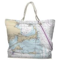 MA: Cape Cod, Martha's Vineyard, Nantucket, MA Nautical Chart Tote Bag