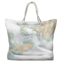 MA: Woods Hole, MA Nautical Chart Tote Bag