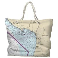 CA: Pismo Beach, CA Nautical Chart Tote Bag