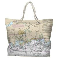 CT: Branford, CT Nautical Chart Tote Bag