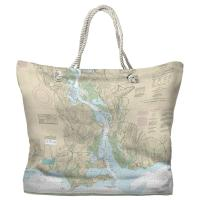 CT: Connecticut River, CT Nautical Chart Tote Bag