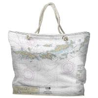 VI: Virgin Islands Nautical Chart Tote Bag - (2) Different Sides