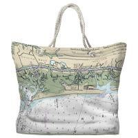 NC: Sunset Beach, NC Nautical Chart Tote Bag