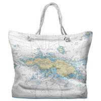 USVI: Saint Thomas, USVI Nautical Chart Tote Bag