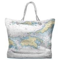 USVI: Saint John, USVI Nautical Chart Tote Bag