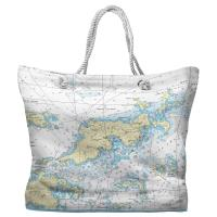 BVI: Tortola, BVI II Nautical Chart Tote Bag