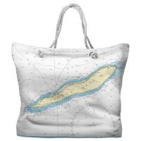Cayman Brac, The Cayman Islands, West Indies Nautical Chart Tote Bag