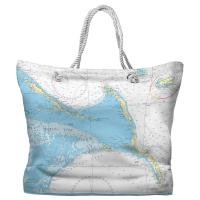 Exuma Islands, Long Island, Rum Cay, Bahamas Nautical Chart Tote Bag