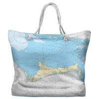 Grand Bahama Island, Bahamas Nautical Chart Tote Bag