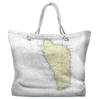 Dominica, West Indies Nautical Chart Tote Bag