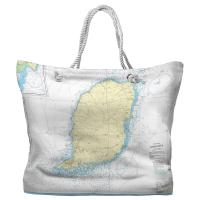Grenada, West Indies Nautical Chart Tote Bag