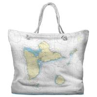 Guadeloupe, West Indies Nautical Chart Tote Bag