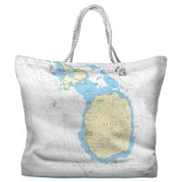 Nevis, West Indies Nautical Chart Tote Bag