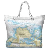 Northern Antigua, West Indies Nautical Chart Tote Bag