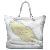 Saint Kitts, West Indies Nautical Chart Tote Bag