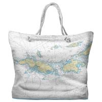 USVI: Saint Thomas, Saint John, USVI Nautical Chart Tote Bag