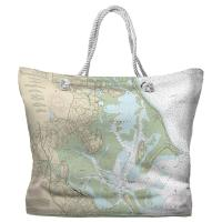 MA: Duxbury Bay, Kingston Bay, MA Nautical Chart Tote Bag