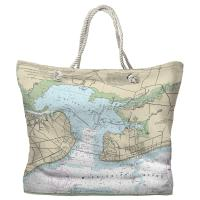 MS: Bay St. Louis, Pass Christian, MS Nautical Chart Tote Bag