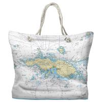 USVI: Saint Thomas, Saint John, USVI Nautical Chart Tote Bag - (2) Different Sides