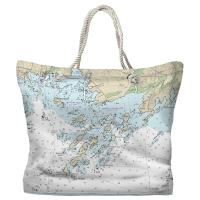 CT: Thimble Islands, CT Nautical Chart Tote Bag