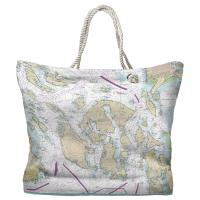 WA: San Juan Islands, WA Nautical Chart Tote Bag