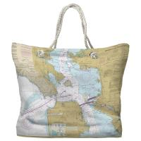 CA: Entrance to San Francisco Bay, CA Nautical Chart Tote Bag