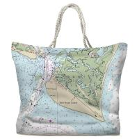 NC: Bald Head Island, NC Nautical Chart Tote Bag