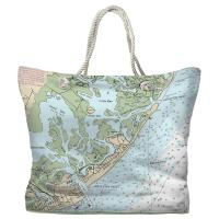 NJ: Brigantine, NJ Nautical Chart Tote Bag