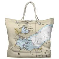 MI-OH: Lake St Clair, Islands of Lake Erie, MI-OH Nautical Chart Tote Bag