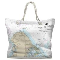 OH: Catawba Island, South Shore of Lake Erie, OH Nautical Chart Tote Bag