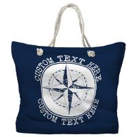 Personalized Compass Rose Tote Bag - Pantone 2767 C